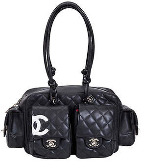 One Kings Lane Vintage Chanel Black Reporter Shoulder Bag - Vintage Lux