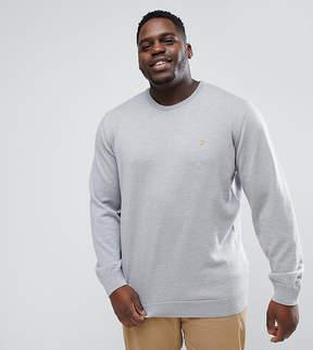 Farah PLUS Mullen Slim Fit Merino Sweater in Light Gray