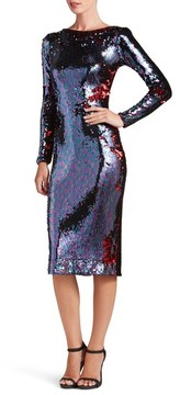 Dress the Population Women's Emery Scoop Back Reversible Sequin Body-Con Dress