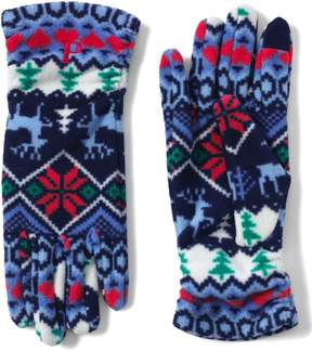 Lands' End Lands'end Women's 100 Fleece Ruched Fair Isle EZ Touch Gloves