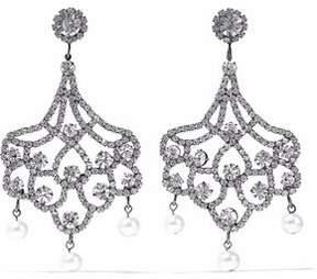 Kenneth Jay Lane Gunmetal-Tone Crystal And Faux Pearl Clip Earrings