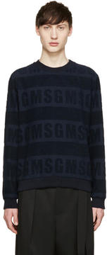 MSGM Navy Logo Terrycloth Pullover