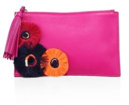 Loeffler Randall Floral-Embroidered Leather Pouch