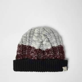 River Island Mini boys burgundy chunky knit bobble hat