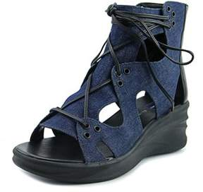 Elie Tahari Street Women Open Toe Canvas Blue Wedge Sandal.