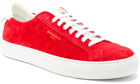 Givenchy Suede Urban Street Low Top Sneakers in Red.