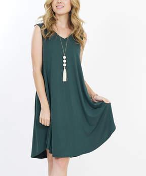 Hunter Green Pocket V-Neck Dress - Women