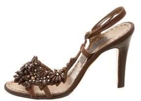 Alberta Ferretti Jewel Beaded Slingback Sandals