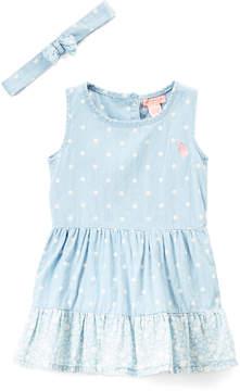 U.S. Polo Assn. Medium Wash Denim Ditsy & Dot Empire-Waist Dress & Headband - Toddler