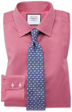 Charles Tyrwhitt Classic Fit Non-Iron Puppytooth Bright Pink Cotton Dress Shirt Single Cuff Size 15.5/33