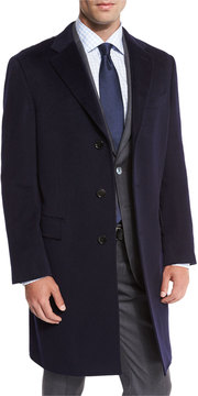 Neiman Marcus Classic Cashmere Single-Breasted Topcoat, Navy