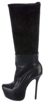 Alice + Olivia Leather Platform Mid-Calf Boots