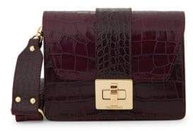 Mario Valentino Benedicte Croco-Embossed Leather Shoulder Bag