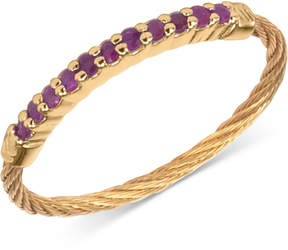 Charriol Women's Laetitia Ruby Accent Gold-Tone Pvd Stainless Steel Cable Ring