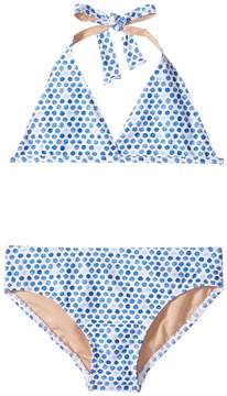 Toobydoo Blue Watercolor Dot Bikini (Infant/Toddler/Little Kids/Big Kids)