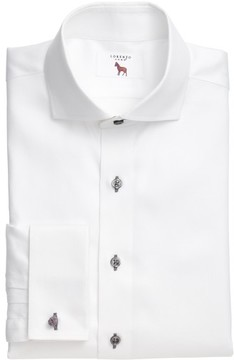 Lorenzo Uomo Men's Trim Fit Solid Dress Shirt