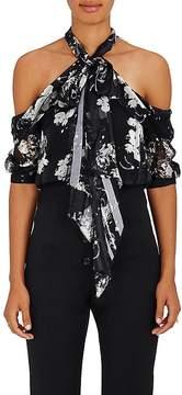 Erdem Women's Floral Silk Cutout Shoulder Blouse