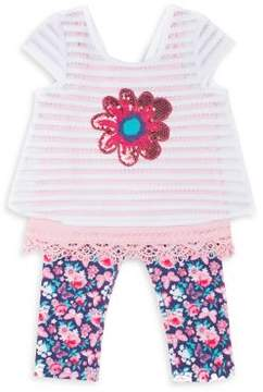 Little Lass Little Girl's Three-Piece Sequined Top, Lace-Trimmed Tank Top and Floral-Print Capri Leggings Set