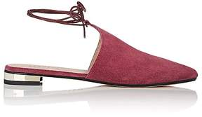 Barneys New York WOMEN'S SUEDE ANKLE-TIE FLATS