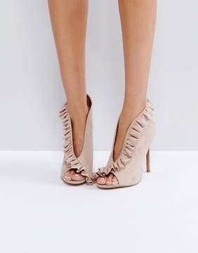 Asos PORT Ruffle Peep Toe High Heels
