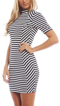 AX Paris Black & White Stripe Mock Neck Dress - Women
