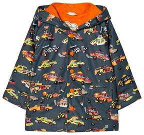 Hatley Dark Grey Cars Print Fleece Lined Raincoat