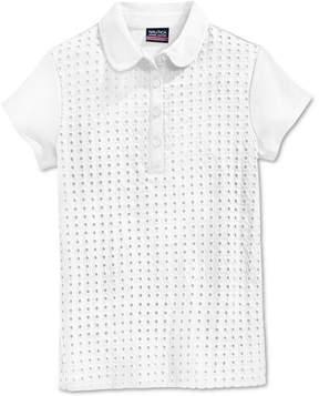 Nautica School Uniform Eyelet Polo Shirt, Big Girls