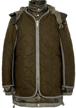 Sacai Layered Quilted Wool And Shell Parka