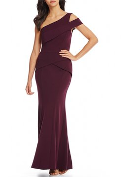 Cachet Cut Out Shoulder Crepe Gown
