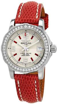 Breitling Colt Silver Dial Ladies Lizard Leather Watch