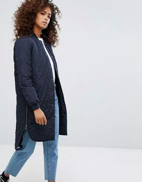Noisy May Quilted Longline Bomber Jacket