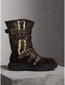 Burberry Buckle Detail Shearling and Suede Boots