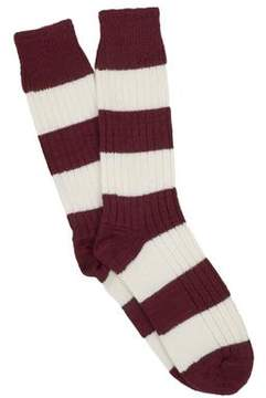 Corgi Cotton Rugby Stripe Socks in Maroon