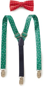 Class Club Christmas Dotted Bow Tie & Tree Suspenders Set