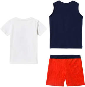 Mayoral White Graphic T-Shirt, Navy Graphic Vest and Red Shorts Set