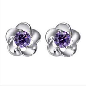 Alpha A A Designer Inspired Flower Shaped Earrings with Purple CZ