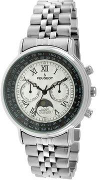 Peugeot Mens Stainless Steel Moon Phase Perpetual Calendar Watch