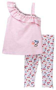 Betsey Johnson Pink Chambray One Shoulder Top & Capri Leggings Set (Little Girls)