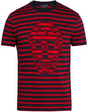 Alexander McQueen Skull-jacquard striped crew-neck cotton T-shirt