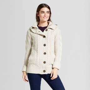 Cliche Women's Button Front Cable Cardigan White
