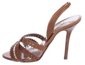 Oscar de la Renta Perforated Slingback Sandals