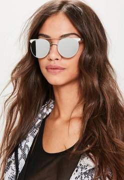 Missguided Silver Flat Bar Sunglasses