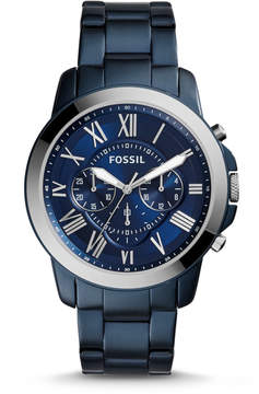 Fossil Grant Chronograph Blue-Tone Stainless Steel Watch