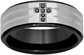 Black Diamond Kohl's Accent Stainless Steel & Black Ion-Plated Stainless Steel Cross Grooved Band - Men