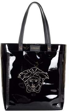 Versace Women's Faux Patent Leather Medusa Head Tote Bag DBFB176 DTVET Black
