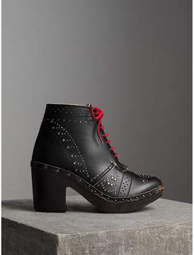 Burberry Riveted Leather Heeled Clog Boots