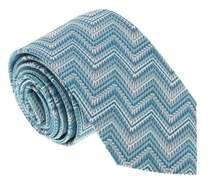 Missoni U4710 Turquoise/silver Chevron 100% Silk Tie.