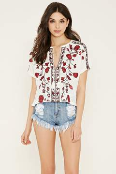 Forever 21 Floral-Embroidered Peasant Top