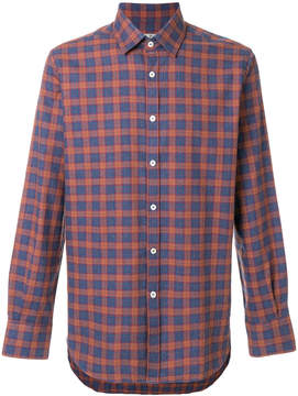 Canali check fitted shirt