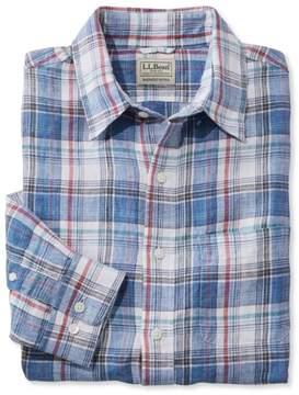 L.L. Bean L.L.Bean Linen Shirt, Slightly Fitted Long-Sleeve Plaid